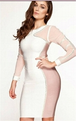 Long sleeve round neck bandage dress women ladies party dress celebrity dresses