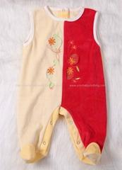 Sleeveless Ve  et baby romper with feet White& Blue Spliced Romper