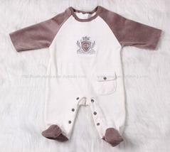 Long Sleeve Ve  et baby romper with feet White& Brown Spliced Romper