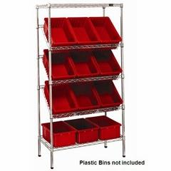 sloping shelf with plastic bin