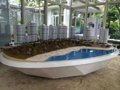 scale architectural model with shape wood base