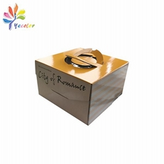 Cardboard cake box with handle