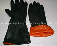 Thick latex working gloves with 2 colors at low price