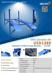 Chinese portable used 4 post car lift with factory price