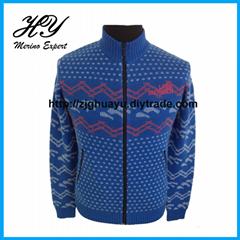 Merino Wool Knitted Zip-up Sweater
