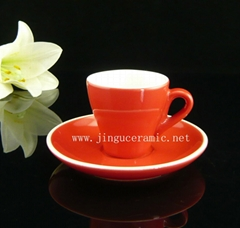 Ceramic stoneware coffee cup with saucer