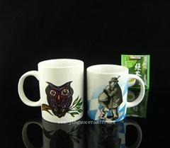 Ceramic porcelain coffee mug with decal