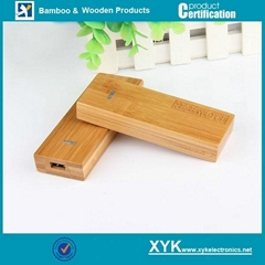 Portable power bank, bamboo mobile charger extended battery charger