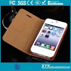 ODM real leather smart case for iPhone 4 cell phone accessories