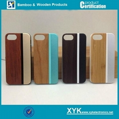 Apple iPhone 5/5S/6/6+ PC wood cover in aluminum protective case mobile shell