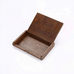 Business name card wooden box, walnut wood holder
