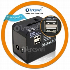 hot selling travel adapter plug with dual usb for worldwide use
