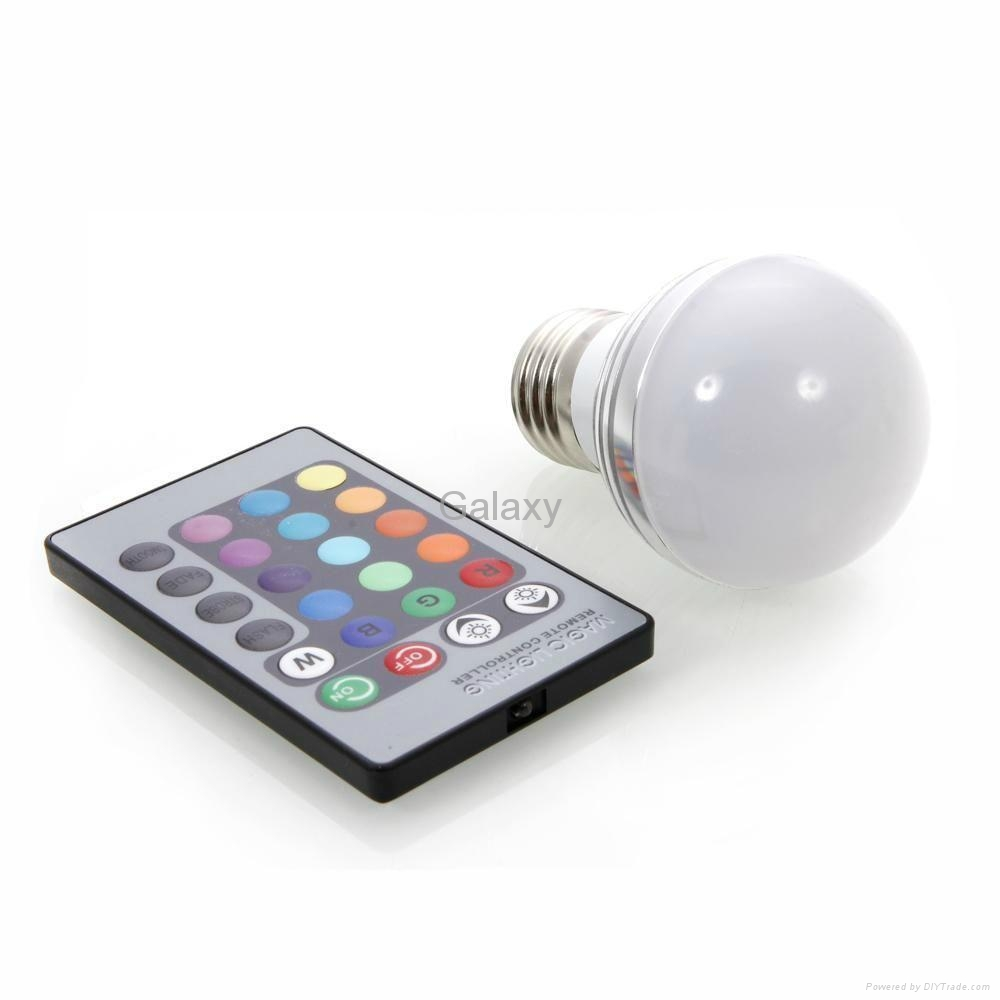 E27 3W 90-260V Magic RGB Colors Changing LED Light Bulb Remote Control Energy 2