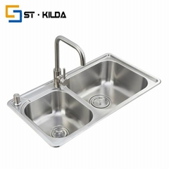 Stainless steel kitchen sink--double bowl sink with drainboard