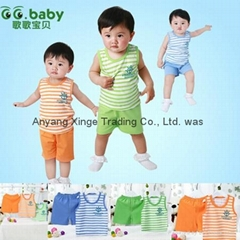 100%Cotton Summer Baby Sets Striped Newborn Boy Girl Set Baby Shirt+Shorts Suits