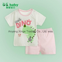2015 Pink Summer Baby T-shirt+Shorts Suits 100Cotton Newborn Baby Boy Girl Sets