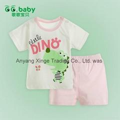 2015 Pink Summer Baby T-shirt+Shorts Suits 100Cotton Newborn Baby Boy Girl Sets