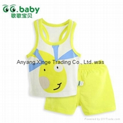 2015 Cartoon 100%Cotton Baby Sets Summer Baby Boy Girl Suits T-Shirt+Shorts