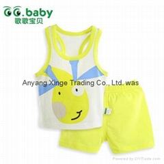 2015 Cartoon 100%Cotton Baby Sets Summer Baby Boy Girl Suits T-Shirt+Shorts