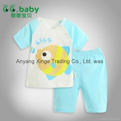 2015 100%Cotton Summer Baby Clothing Set Cute Blue Newborn Baby Boy Girl Suits