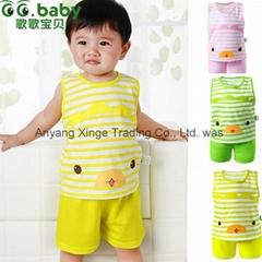 2015 Cute 100%Cotton Baby Sets Summer Striped Newborn Baby T-shirt Short Suits