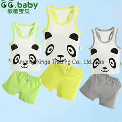 2015 NEW 100%Cotton Summer Baby Sets Panda Newborn Baby Girl Boy Clothing Suits
