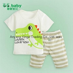 2015 Cotton Crocodile Summer Baby Boy Girl Clothing Sets Newborn Suits
