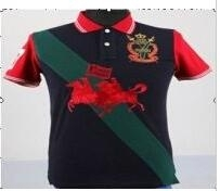 Mens knit polo-shirt with embroidery and patch design