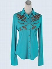 Ladies knit shirt with front placket and embroidery design