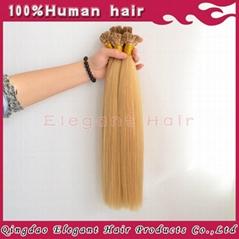 No Shedding Peruvian Virgin Hair Blonde I Tip Hair Extension