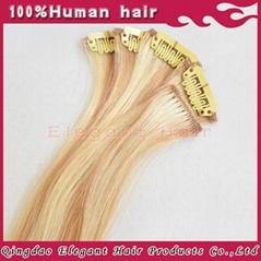 Chinese virgin hair two tone clip in hair extension in stock
