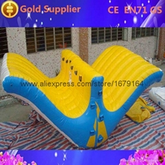 hot sale floating pvc inflatable water step slide for adults