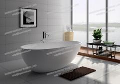 Jingzun Molded Freestanding Composite Resin Bathtub Artificial Stone Bathtub