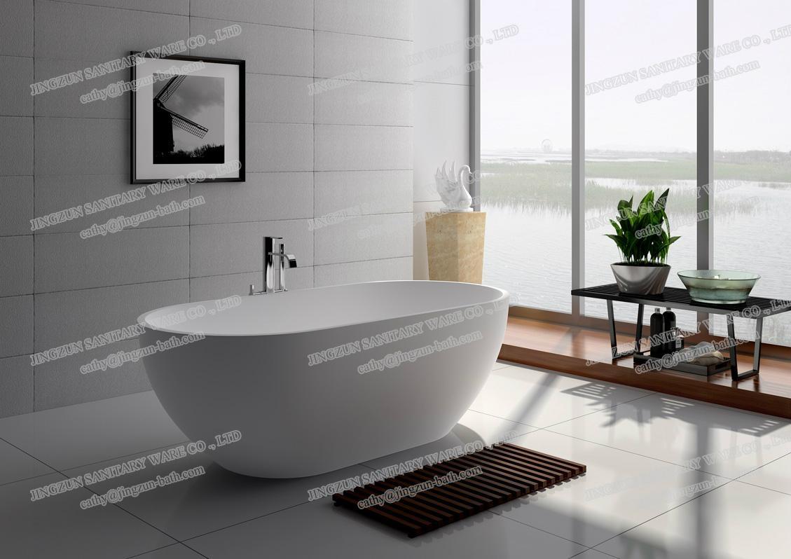 Jingzun Cultured Freestanding  Bathtub Solid Surface Bathtub  2