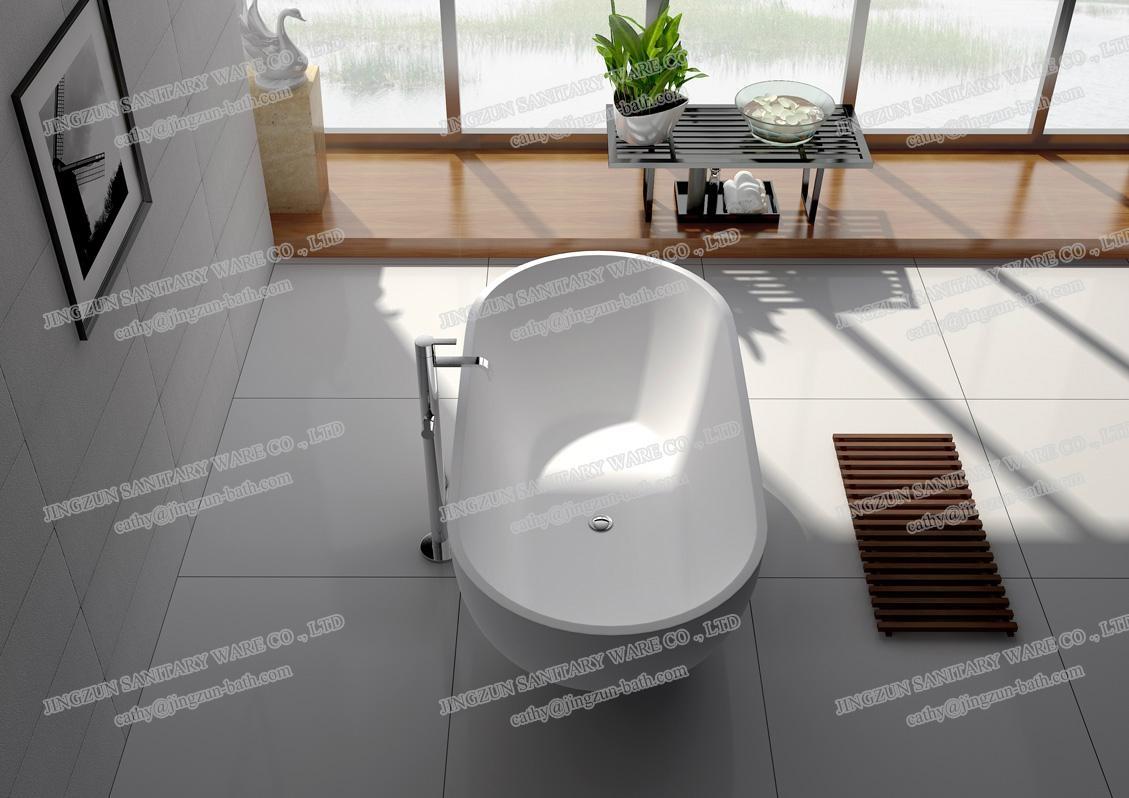 Jingzun Cultured Freestanding  Bathtub Solid Surface Bathtub  3