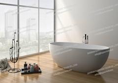 Jingzun Modern Freestanding  Oval bathtub Solid Surface Bathtub