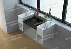 Jingzun Healthy Material Solid Surface Simple Hospital Wall Hung Hand Wash Basin
