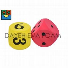 Elastic Curved EVA Foam  Dice -12 cm, Set of 2, Yellow/Red