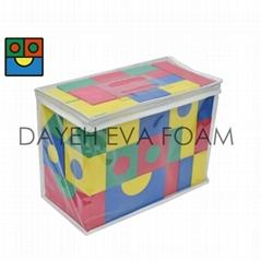 創意泡綿彩色積木,EVA Foam, 68 piece
