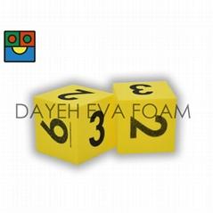 EVA Foam Dice-5 cm , Number 1-6 , Yellow