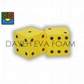 EVA Foam Dice-5 cm , Dots 1-6 , Yellow