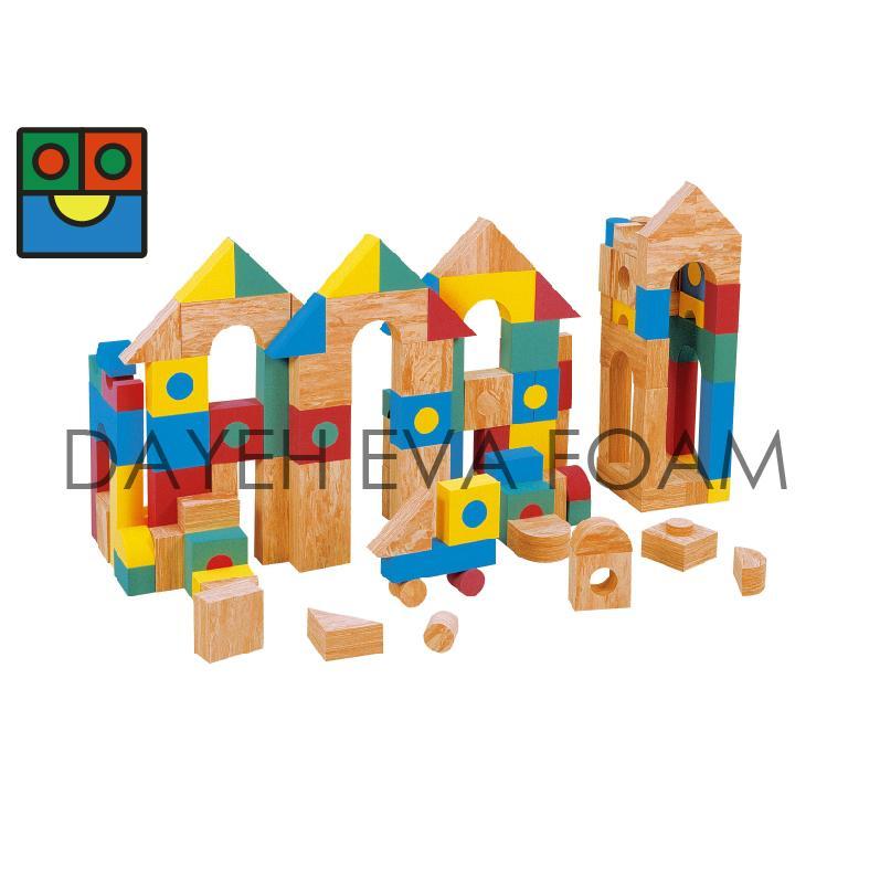 EVA 泡綿彩色木紋積木-136 piece 1