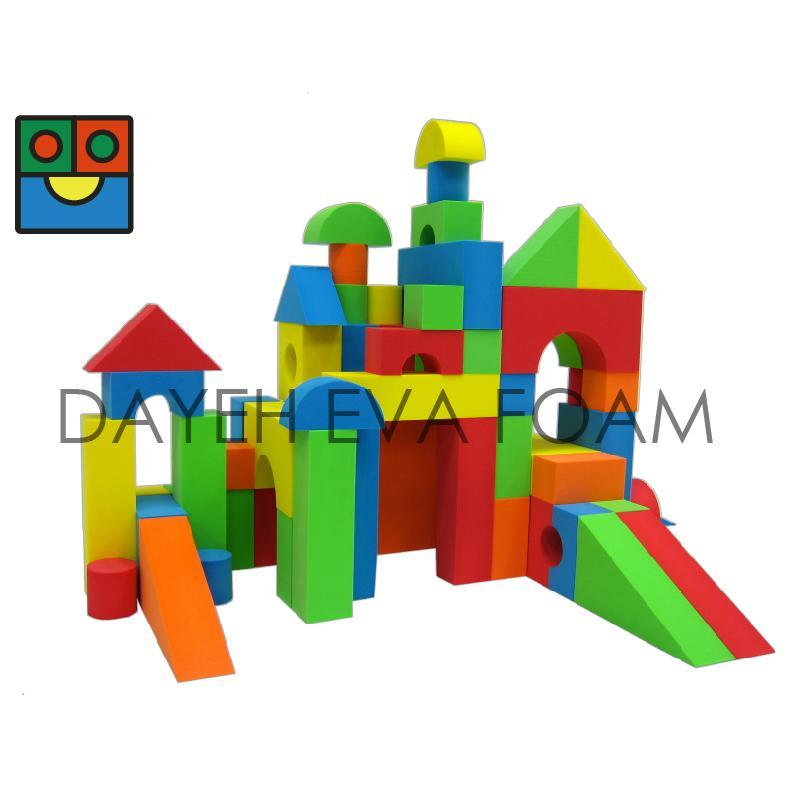 Jumbo neon eva foam building block 5cm 68pcs b6768 for Foam building blocks for houses