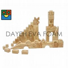 EVA 泡绵木纹积木,5cm, 68-piece