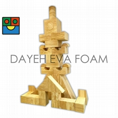 EVA 泡绵木纹积木,8cm, 52 PCS