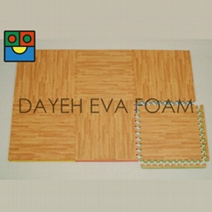 Two-way Wood-like EVA Foam Floor Mats,  2' x 2' , 20 mm, Set of 6