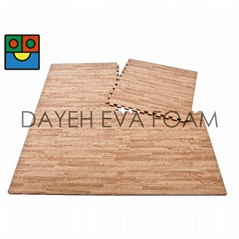 EVA木纹转印地垫 2' x 2'(双面用), 14 mm