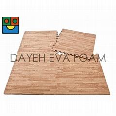 Two-Way  Wood-like EVA Foam Mats, 2' x 2', 14 mm