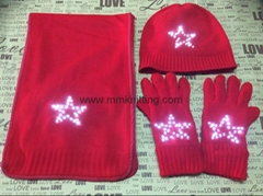 light up hat scarf gloves with LEDs