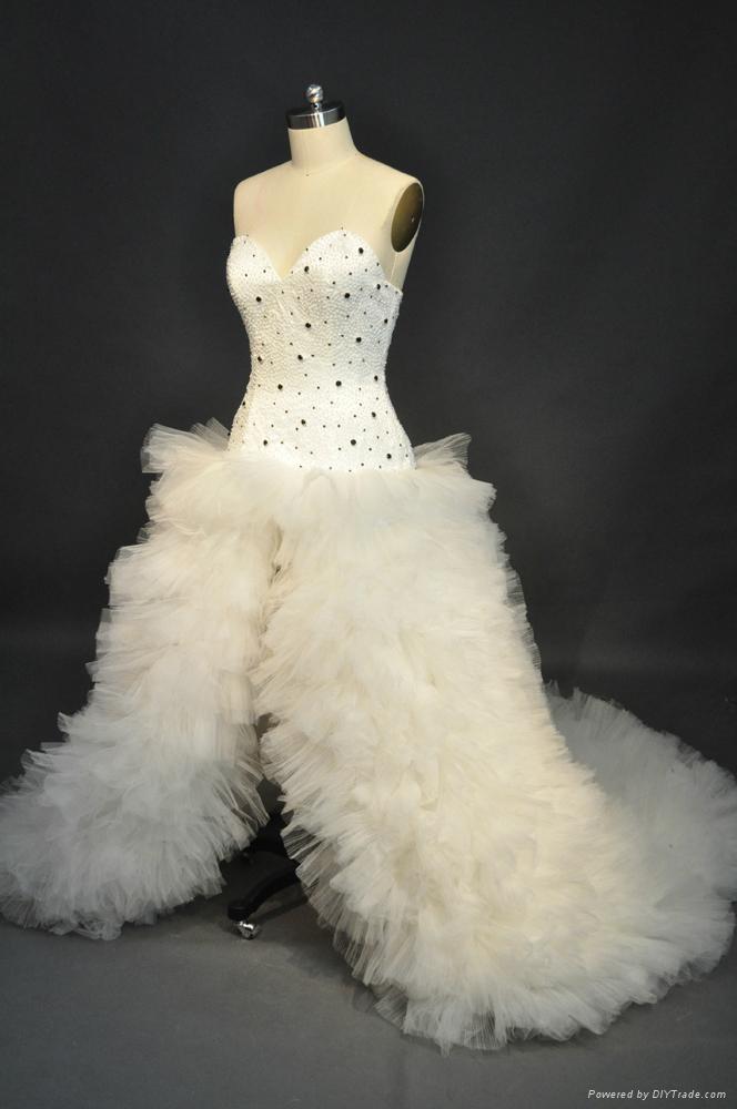 宫廷绑带蓬蓬裙奢华欧式新娘婚纱